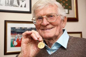 Cyril Robinson with his 1953 FA Cup final winning medal. Picture: PA