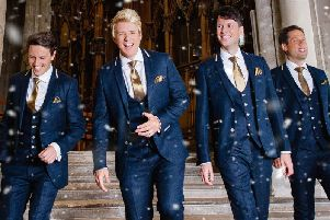 Vocal harmony group G4 Jonathan Ansell, Mike Christie, Lewis Raines and new member Duncan Sandilands