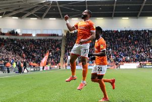 Liam Feeney netted his first goal for Blackpool to give them the lead