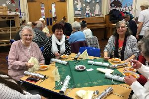 Wyre's elderly residents gathered together for a festive lunch at Manor Beach primary school.