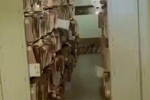 Footage, posted on social media and shared with The Gazette, showed racks of files stacked up. While most of it appeared in order, the clip showed some files lined up on the floor, next to theatre taps and in boxes behind doors, sparking potential health and fire safety fire issues