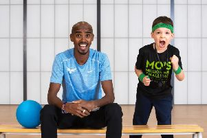 Sir Mo Farah calls on locals in Blackpool to take part in Mos Million Mile Challenge  Picture courtesy of Jeff Moore