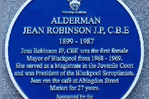 The blue plaque honouring Jean