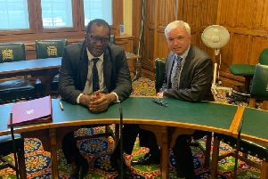 Fylde MP Mark Menzies  in a meeting with Kwasi Kwarteng over the issue of fracking