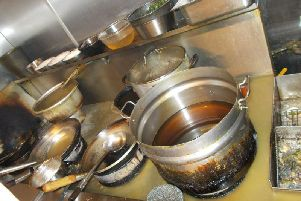 Grubby pans at the Yum Sing restaurant in Cleveleys