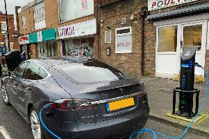Drivers of electric vehicles can now find a place to park and plug-in when visiting most of Lancashire's town centres - thanks to a project to install 150 on-street charging points. This one is on Blackpool Old Road, Poutlon
