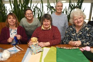 Poulton St. Chad's knit and natter group. L-R: Steph Lovejoy, Christine Smith, Brenda Cross, Norma Jeffrey and Mary Kay.