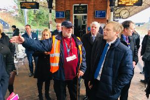 Minister for Transport Grant Shapps with Brian Crawford, chairman of the Poulton and Wyre Railway Society'Picture by Gordon Head