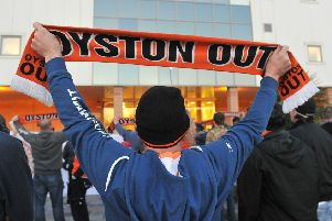 Blackpool staging a protest against the Oyston family ahead of the game
