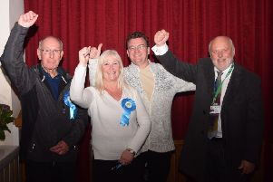 Celebrating Coun Jayne Nixon's by-election win:'Alan Ashton, election agent, Jayne Nixon, Jayne's husband Darren, and Staining and Weeton councillor John Singleton