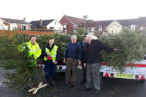 Coun Tony Ford (right) and Coun Carol Lanyon wth some of the trees collected after last Christmas