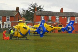 A member of the public captured the air ambulances on arrival in Wrea Green.