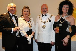 Coun Singleton (second right) at the ball with (from left)  deputy mayor Coun Ray Thomas, mayoress Geraldine Singleton, and deputy mayoress Vivien Ivell
