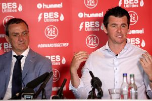 Joey Barton at his first press conference as Fleetwood Town manager.