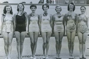 Beauty pageant: From left: Miss Barbara Crooke - of Preston second, Miss Patricia Encell, of Ayshire - first, Miss Patricia Dodsworth, of Burnley - third. Miss Jean Pennance, of Blackpool, Miss Wynne Toban of Leyland, Miss Marjorie Millward of St Annes, Miss Beryl Jackson, of Hoylake