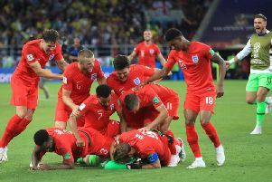England celebrate their penalty shoot-out win over Colombia