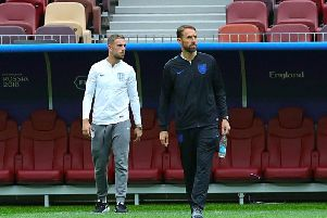 Manager Gareth Southgate and captain Jordan Henderson take a look around the Luzhniki Stadium