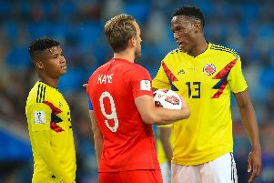 Manchester United target Yerry Mina faced England at the World Cup