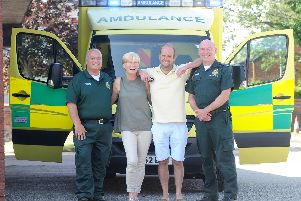 Emergency medical dispatcher Frank Cerra, Rachel and Robert Marsden and paramedic Geoff Hamriding.