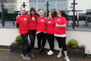 Kath Hands (far right) with colleagues from Dalmeny Hotel, in Lytham, who have been raising funds for UK Sepsis Trust