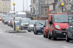 Traffic in the town centre due to roadworks on the Promenade and Talbot Road