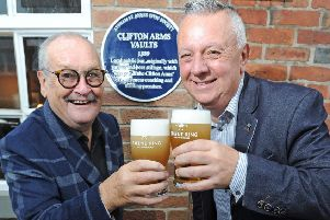 Bobby Ball at the plaque unveiling with Taps manager Steve Norris