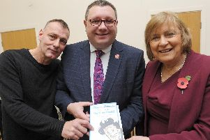 Mike Bartram, who compiled the book, with Grand Theatre house manager Shaun Gorringe and Lady Anne Dodd