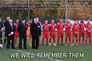 Squires Gate mark Remembrance weekend with a minute's silence at Alfreton. The club was formed as Squires Gate British Legion in 1948 as a team for returning servicemen. Picture: ALBERT COOPER
