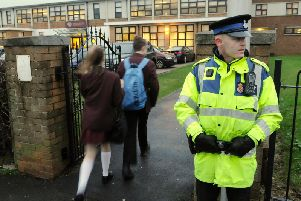 Police presence at Montgomery High School as pupils arrive for school following online threats on Facebook in 2016