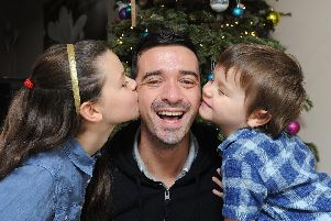 Jordan Spedding with his children Maisie, 8 and Hugo, 3