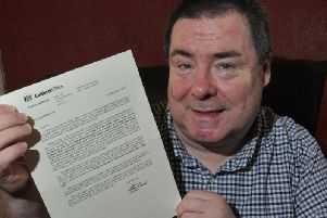 Jon Bamborough from Blackpool, is delighted to receive an MBE in the New Years Honours List 2019, in recognition of his work with the homeless, pictured with a letter from the Cabinet Office