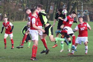 Goalmouth action from Kingsfield v Westview  Picture: KAREN TEBBUTT