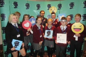 Saint Aidan's High School pupils who took part in an anti-bullying conference.