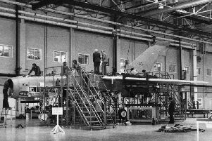 The first production Tornado being constructed in Warton in 1978