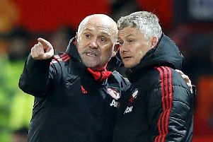 Manchester United interim manager Ole Gunnar Solskjaer (right) with coach Mike Phelan