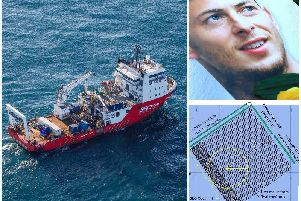 Left, the Geo Ocean III specialist search vessel off the coast of Alderney in the English Channel. Top right, a match day programme with an image of Emiliano Sala. Bottom right, the search area of two teams working together to find David Ibbotson and Emiliano Sala
