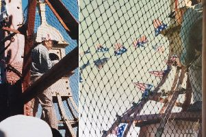 Pics taken at Blackpool Tower in 2002, of two men who climbed the tower, one of them cut through the rope netting to get right to the top of the tower. 'He was protesting about people from 9/11 dying and America's rights.'Pics taken by Maggie Valentine, of Northampton