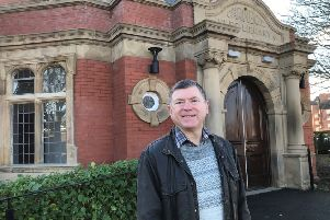 County Coun Peter Buckley outside St Annes Library