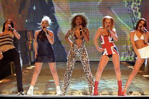 The Spice Girls, performing at the Brit Awards in London, in 1997