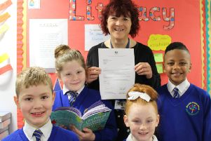 Mereside Primary School's headteacher Sarah Bamber with, from left to right: Nathan Andrew, seven, Connie-May Butcher, 10, Hallie-Jay Cundliffe, seven, and Raheem Sowe, nine