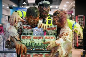 Zombies at HMV Blackpool to mark the release of Redcon-1 on DVD and Blu-Ray
