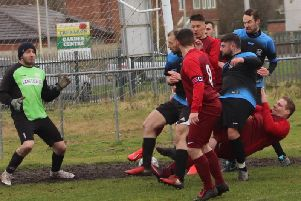 Alliance action from Excelsior v AFC Lane Ends  Picture: KAREN TEBBUTT