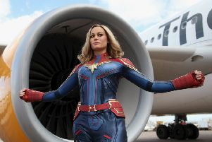 Captain Marvel for Madame Tussauds Blackpool photographed at Manchester Airport.  Picture: Jason Lock