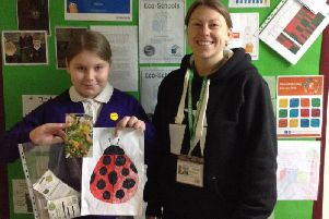 Millie Gee from Boundary Primary School in Blackpool was the winner of a competition run to design a mascot for Gateside Park. Millie is pictured with Emma Whitlock, Gateside Park Project Manager