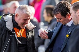 Gary Bowyer with Terry McPhillips and Andy Todd before today's game