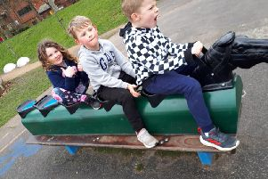 Northfold Primary School pupils Jacob Langford, Toby Langford and Lily Foster
