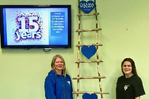 Education officer Helen Bielec and cafe assistant Lexia Fenton with a totaliser at Park View 4U, Lytham to mark fund-raising plans for its 15th anniversary