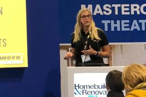 Kate Lindsay speaking at the Homebuilding and Renovating show,