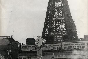 Stuntman Kinnie Gibson rockets past Blackpool Tower