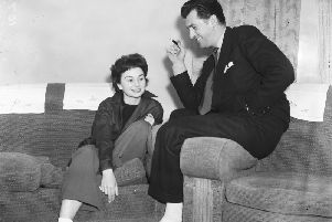 Jean Simmons and Stewart Granger at the Clifton Hotel, Blackpool, in March 1949